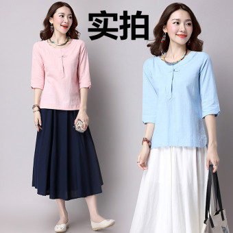 Harga National Wind Linen spring New style Women's Top