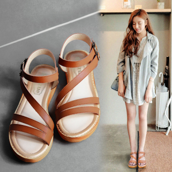 Harga Female Flat sandals Roman style Thick bottom sandals(BROWM) - intl