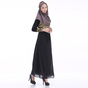 Harga Women Muslim Wear Robe Chiffon Long Dress Baju Kurung 60011 -Black(Export)