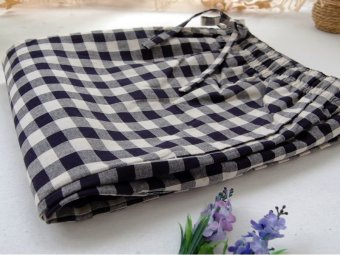 Harga Sense of cool breeze pajama pants men's summer cotton casual plaid trousers home pants waist big yards loose increase (2 # black and white lattice)