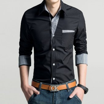 Fashion personality spell color long sleeve shirt men's shirts korean luxury Mens Dress shirts (Black (black))