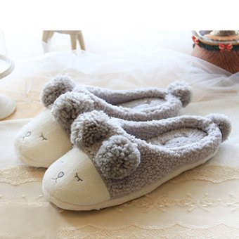 Harga Fall 2015 short plush slippers Home Furnishing cute couple warm comfortable squinting sheep indoor floor slippers