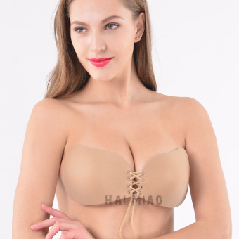 Harga An upgraded version of the pull rope lace seamless underwear chest paste breathable invisible bra super gather sexy santa bra goddess (4620 color)