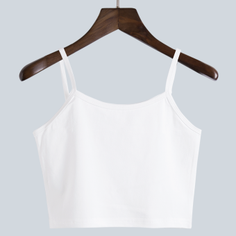 Cotton wear suspenders small vest female summer loose lo shi short paragraph slim was thin fat mm bottoming shirt inside the ride (White)