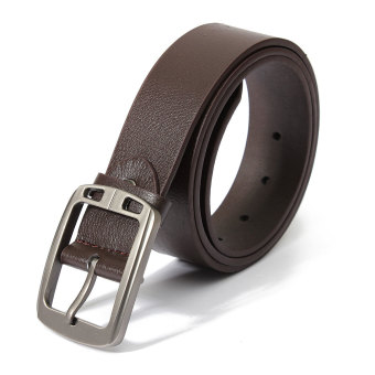 Harga Fashion Men's Leather Cowhide Belt Pin Strap Casual and Dress Belts Brown