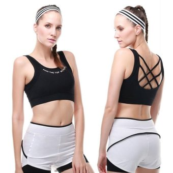 Harga VANSYDICAL Woman Sexy Bra Running Yoga Wokout Shock-proof Push-Up Sports Bra Wireless Removable Padded - intl