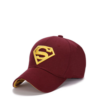 Harga Couple Hip-Pop Fashion Sun Hat Supperman Baseball Cap Golf Cap wine red+yellow