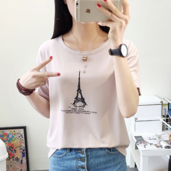 Korean version was thin loose shirt sleeve t-shirt female summer new wild student short sleeve casual shirt bottoming 2017 (8650 leather pink)