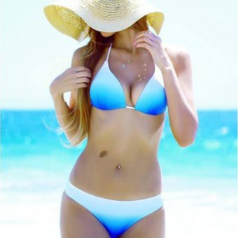 YingWei Sexy Bikinis Set Summer Swimsuit Swimwear Beachwear(Blue White) - intl