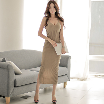 Harga Sexy knitted strapless slit skirt package hip slim sleeveless dress women summer long section of the ride bottoming shirt dress (Camel)