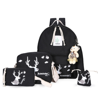 Harga Korean clouds printing campus shoulder bag female junior high school student casual canvas bag travel bag backpack tide (The little deer black)