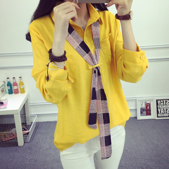 Harga 2017 new college wind white shirt female literary cotton pullover long sleeve loose big yards fashion tie shirt tide (Yellow)
