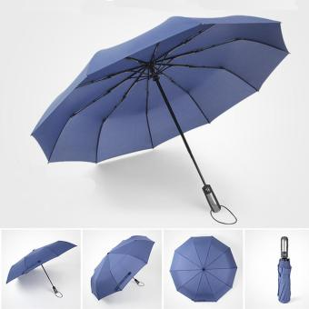 Harga Automatic 10-Rib Folding Umbrella Super Wide Rain Umbrellas(navy blue) - intl