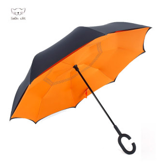 Harga Reverse reversal reflexed umbrella creative double umbrella umbrella sun umbrella skillet large men and women car advertising umbrella (Orange)