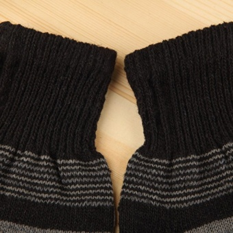 Men Winter Warmer Stripe Knitting Gloves Knit Wool Thick Warm Finger Mittens - intl