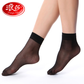 Harga Langsha cored wire short stockings summer thin and smooth 2 pairs of dress socks 5 pairs of dress brand ladies socks crystal socks (5 double crystal silk black dress)