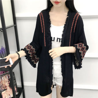 Summer new national wind embroidery flower sun protection clothing air conditioning shirt cardigan female long section raw-cut short fringed shawl jacket (Black)