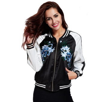 Harga yilia 2016 New Autumn Women Basic Coats Flower Embroidery Black White Bomber Jacket Coats - intl