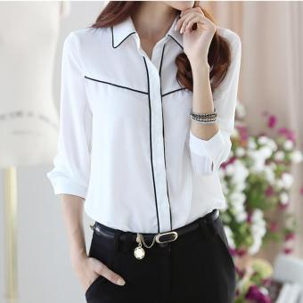 2017 Women Long Sleeve Casual Chiffon Shirts Ladies Business OL White Shirt for Female - intl