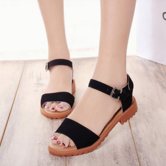 Harga Pudding Bohemian Roman fish head flat sandals Black - intl