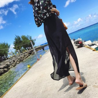 Women's Korean-style loose-fitting high-waisted slit chiffon cropped pants - black