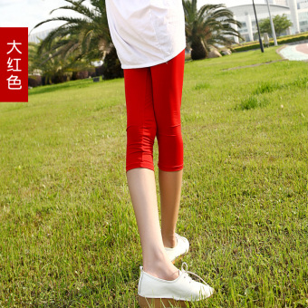 Harga Yoga pant female summer candy color leggings slim thin section was thin outer wear large size ice silk in 7 hours shorts (Big red)