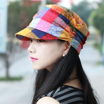 Harga Hat female spring and summer cap child hat floral flat top cap thin section breathable fashion cap Outdoor Climbing cap wild new (Dyed yellow orange)