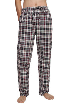 Harga Cyber Avidlove Men Male Multicolor Plaid Sleepwear Lounge Pajamas Pants Trousers ( Red )
