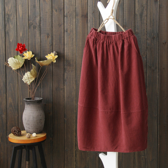 Harga Semi sweet 2017 spring models new literary linen skirts skirt retro skirts spring models in the long section (Red wine)