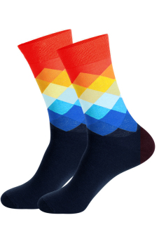 Men's Sports Athletic Gradient Colorful Rhombus Cotton Mid-Calf Length Long Socks - Intl