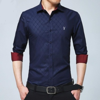 New Fashion Casual Men Shirt Long Sleeve Mandarin Collar Slim Fit Shirt Men Formal Shirts Business Mens Dress Shirts Men Clothes (Navy Blue) - intl