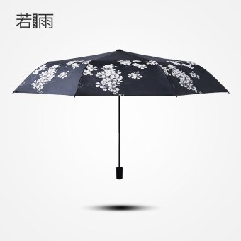 Harga If rain umbrella cherry blossoms dual female student korea sun umbrella three fold umbrella folding sun umbrella anti-uv