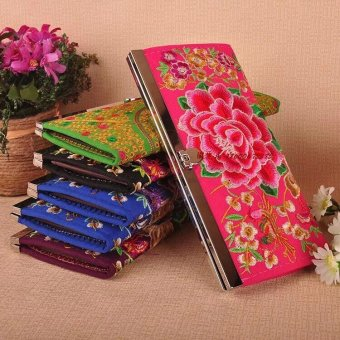 Harga National embroidery features money flower wallet
