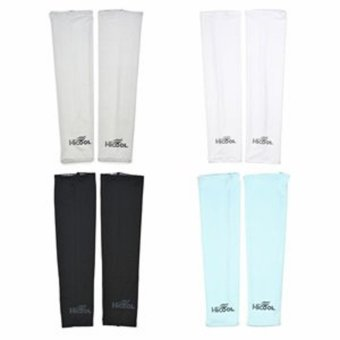 Harga Assorted Color UV Protection Cooler Arm Sleeves 4 Pairs for Bike/Hiking/Golf (Black,White,Gray&Light Blue Color) - intl
