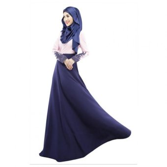 Harga Muslim Wear Women Baju Kurung Long Sleeve Dress L16016 Navy Blue (EXPORT)
