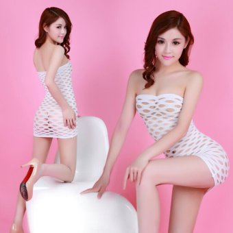 Harga Large Holes Mesh Sexy Mini Dress Lingerie Nightwear - White