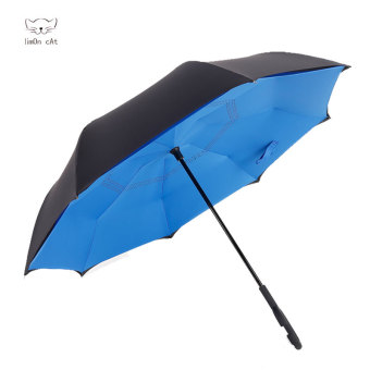 Harga Reverse reversal reflexed umbrella creative double umbrella umbrella sun umbrella skillet large men and women car advertising umbrella (Blue)