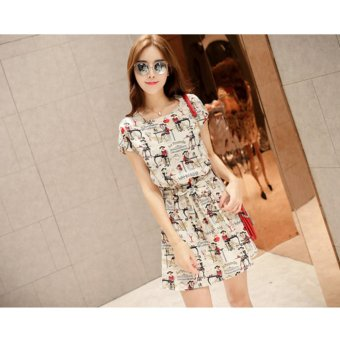 AngelCityMall Korean Women's Ladies Neck Fashion Girl Stamp Collecting Waist Dress - intl