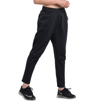 Harga VANSYDICAL Women Sports Casual Harem Pants Pure Cotton Workout Running Pants(Black)