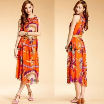 Harga MG Bohemian Peacock Hawaiian V-Neck Long Beach Maxi Sundress Vacation Dress(Orange) - intl