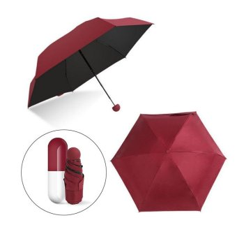 Harga Mini Capsule Umbrella Clear Pocket Umbrella Windproof 5-Folding Umbrellas Anti-Suncreen/Anti-UV Women Compact Rainsun Umbrella (Red wine) - intl