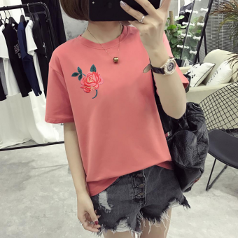 Short-sleeved t-shirt female 2017 summer New style Korean-style round neck Top loose student bottoming shirt embroidered Top wild (Red)