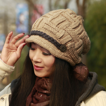 Harga Korean-style female warm ear pile Pile Cap wool cap