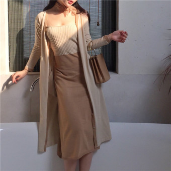Slim fit Dungaree dress Female Summer fresh Nature Wind dress + long section cardigan knitted sun shirt jacket Top (Long cardigan)