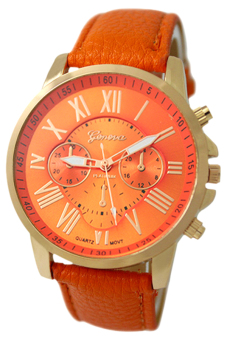 Harga BlueLans Geneva Roman Numerals Faux Leather Watch (Orange)