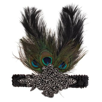 Harga New Women Peacock Feather Flapper Headpiece 1920s Vintage Headband Headdress Peacock - intl