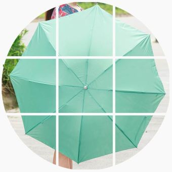 In case of water flowering three folding sun umbrella rain or shine umbrella (Solid color paragraph-green)