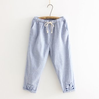 Japanese-style embroidered elastic waist cat casual pant (Blue pant) (Blue pant)