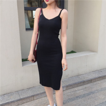 Knit dress female Spring and Autumn 2017 New style Korean-style Slimming effect waist wild long section of black dress bottoming dress (Black)