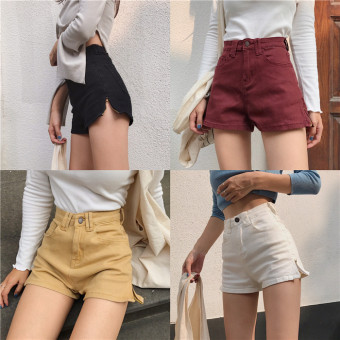 Korea New style retro chic style High waisted Slim fit Slimmingeffect wild shorts a word side zipper denim shorts Female Summer(Light yellow)